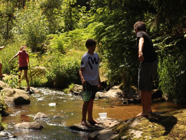 Kinder im Flussbett Naturpark Bayerischer Wald