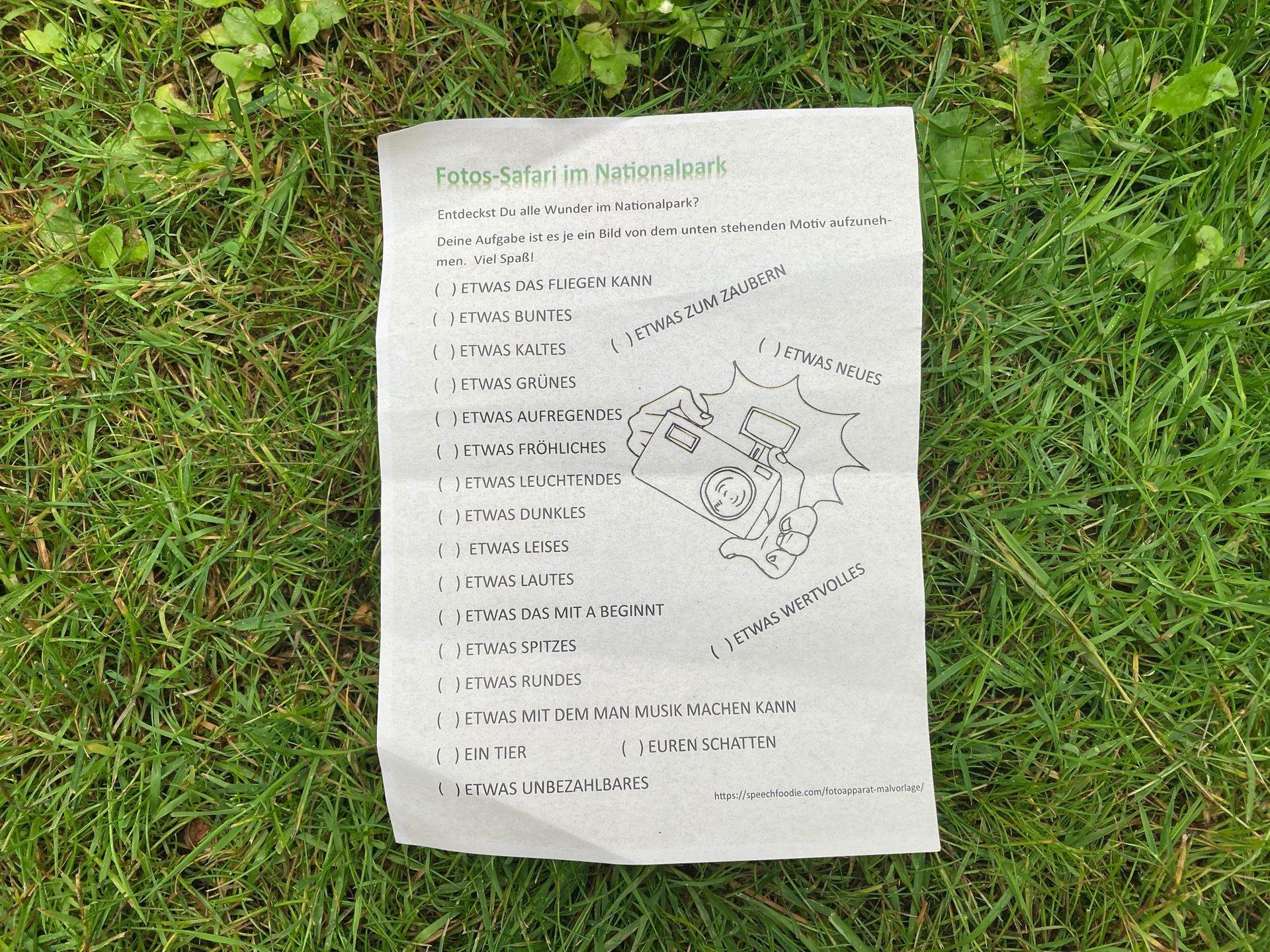 Aufgabenliste für die Foto-Safari (Foto Jane Groß)