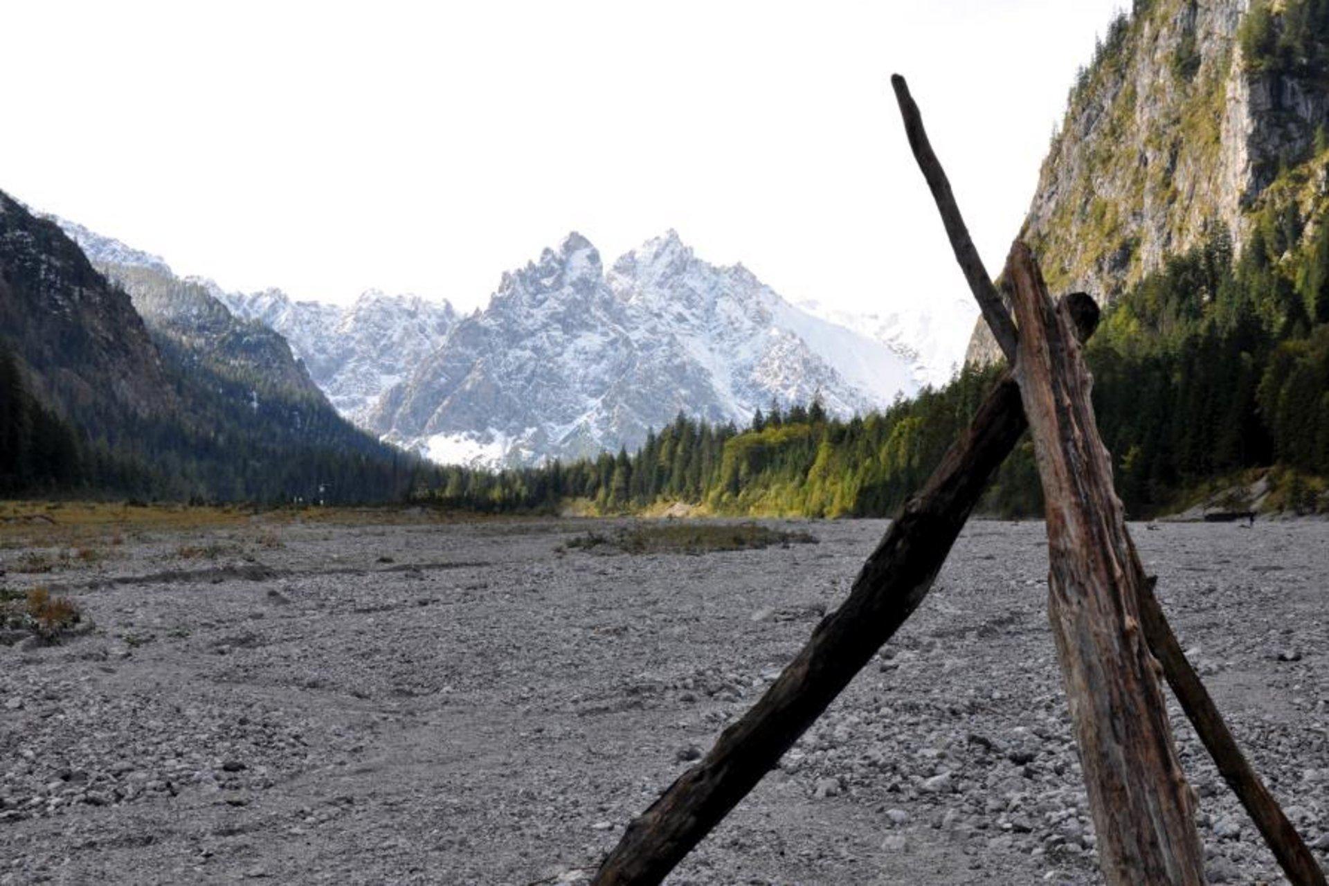Blick durch das Wildbachtal mit verschneiten Bergen im Hintergrund