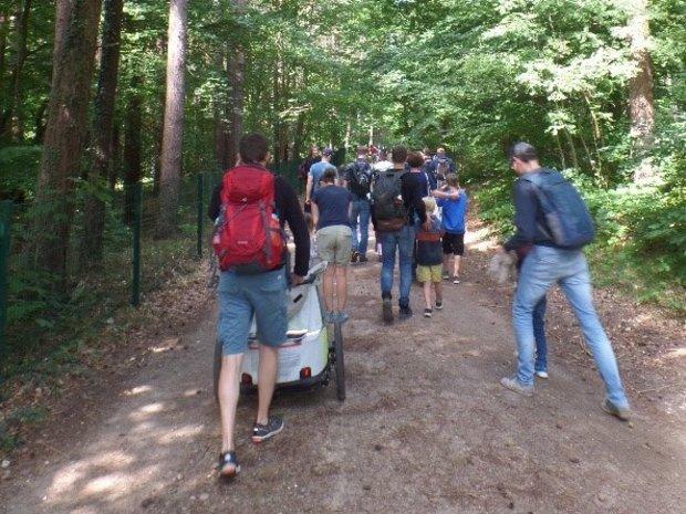 Eine Gruppe Wanderer mit Kindern auf einem Waldweg