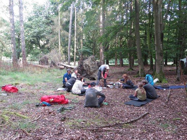 Eine Gruppe sitzt auf einer Lichtung im Wald
