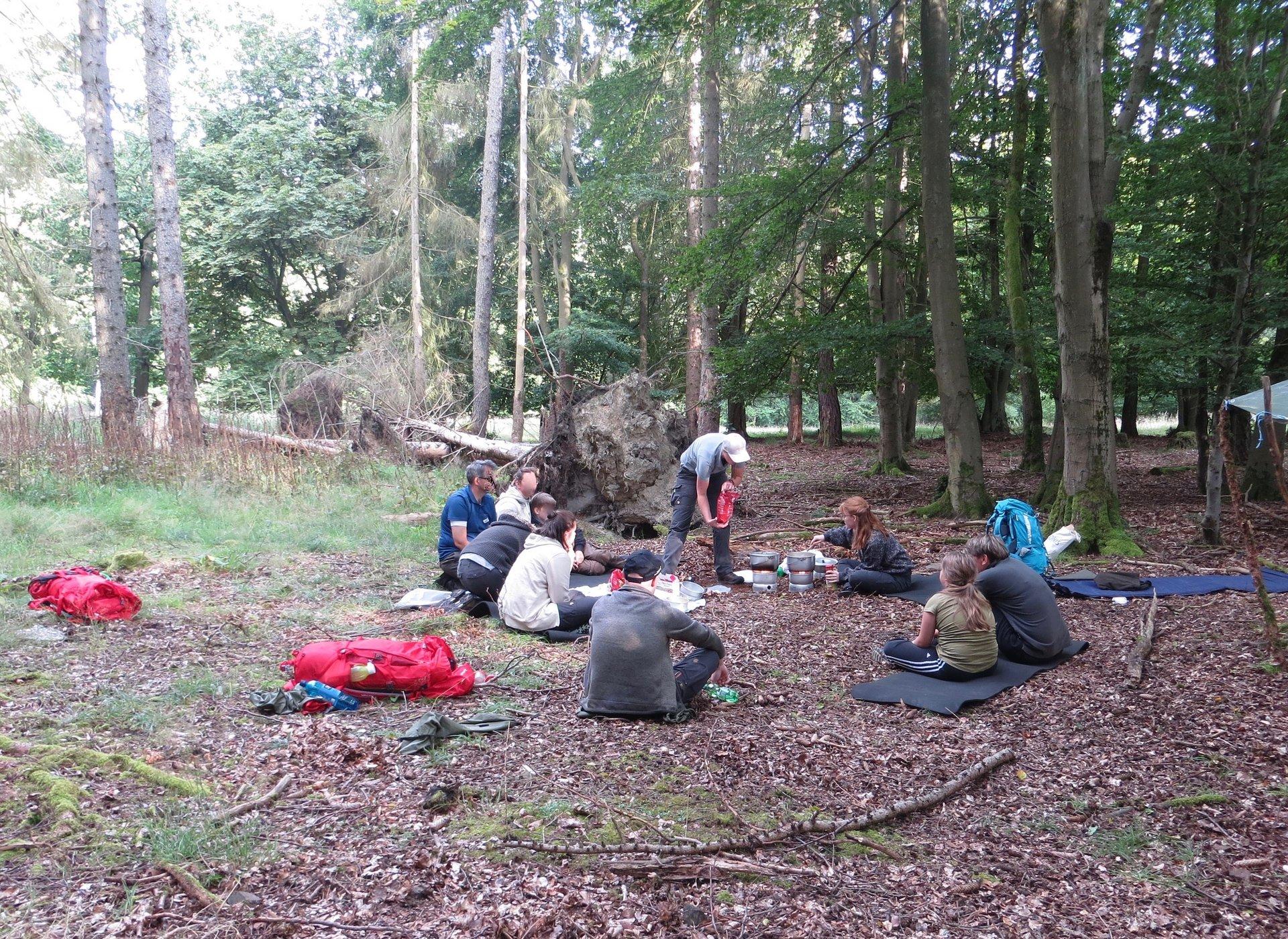 Eine Gruppe von Menschen sitzt auf einer Lichtung im Wald