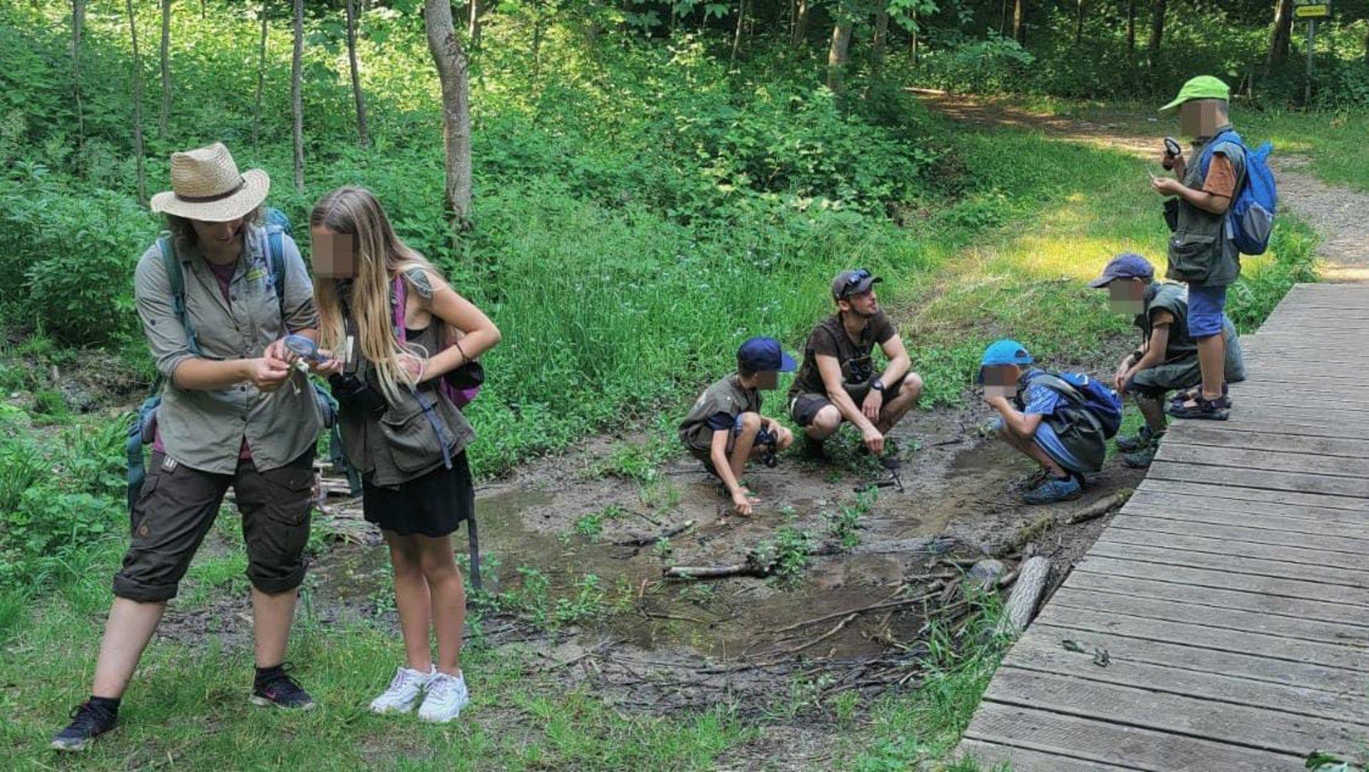 Kinder entdecken Tierspuren im Wald (Foto Tassilo Eifler)